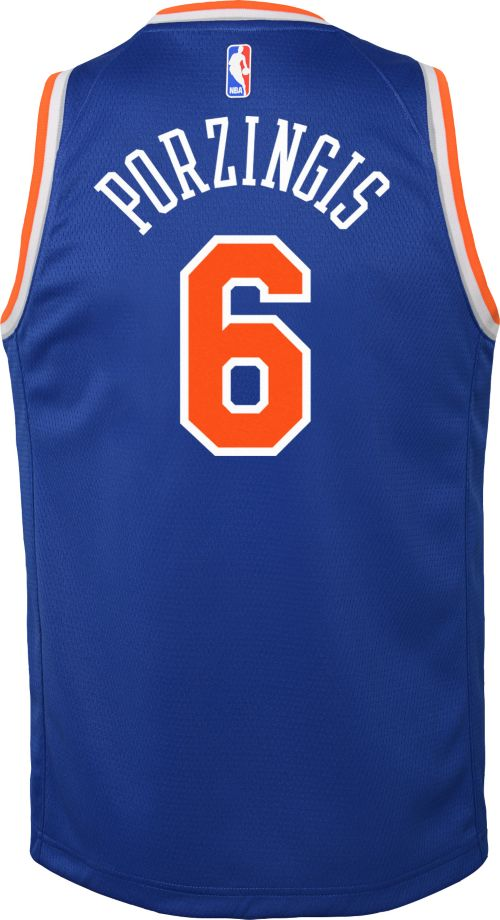 a61dddcdf2a0 Nike Youth New York Knicks Kristaps Porzingis  6 Royal Dri-FIT Swingman  Jersey. noImageFound. Previous. 1. 2. 3