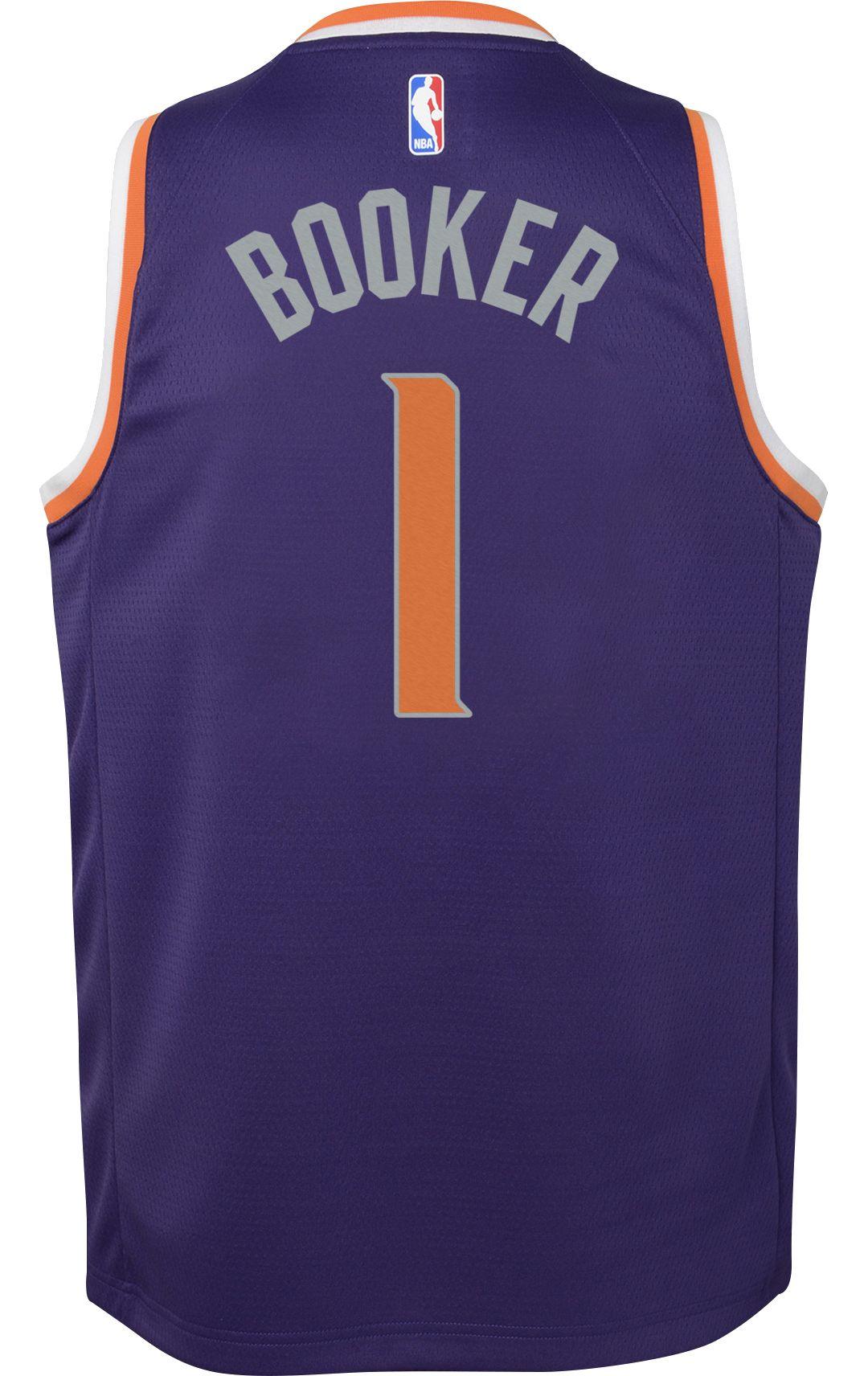 buy popular 8c025 6dadf Nike Youth Phoenix Suns Devin Booker #1 Purple Dri-FIT Swingman Jersey