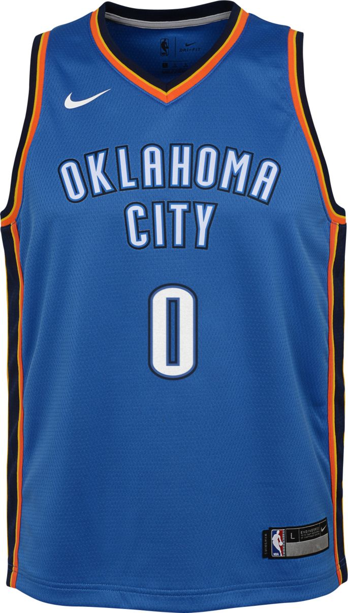 best loved cb50f a72c1 Nike Youth Oklahoma City Thunder Russell Westbrook #0 Blue Dri-FIT Swingman  Jersey
