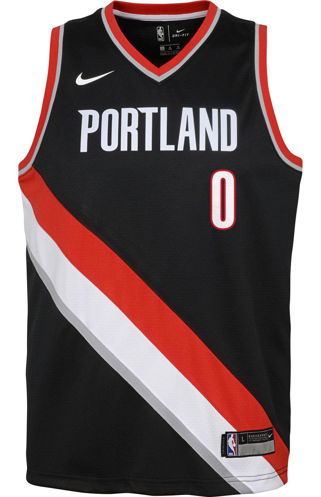meet 6e54f fd435 Nike Youth Portland Trail Blazers Damian Lillard #0 Black Dri-FIT Swingman  Jersey