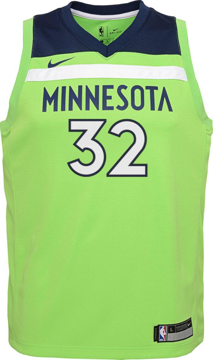 Nike Youth Minnesota Timberwolves Karl Anthony Towns 32 Green Dri