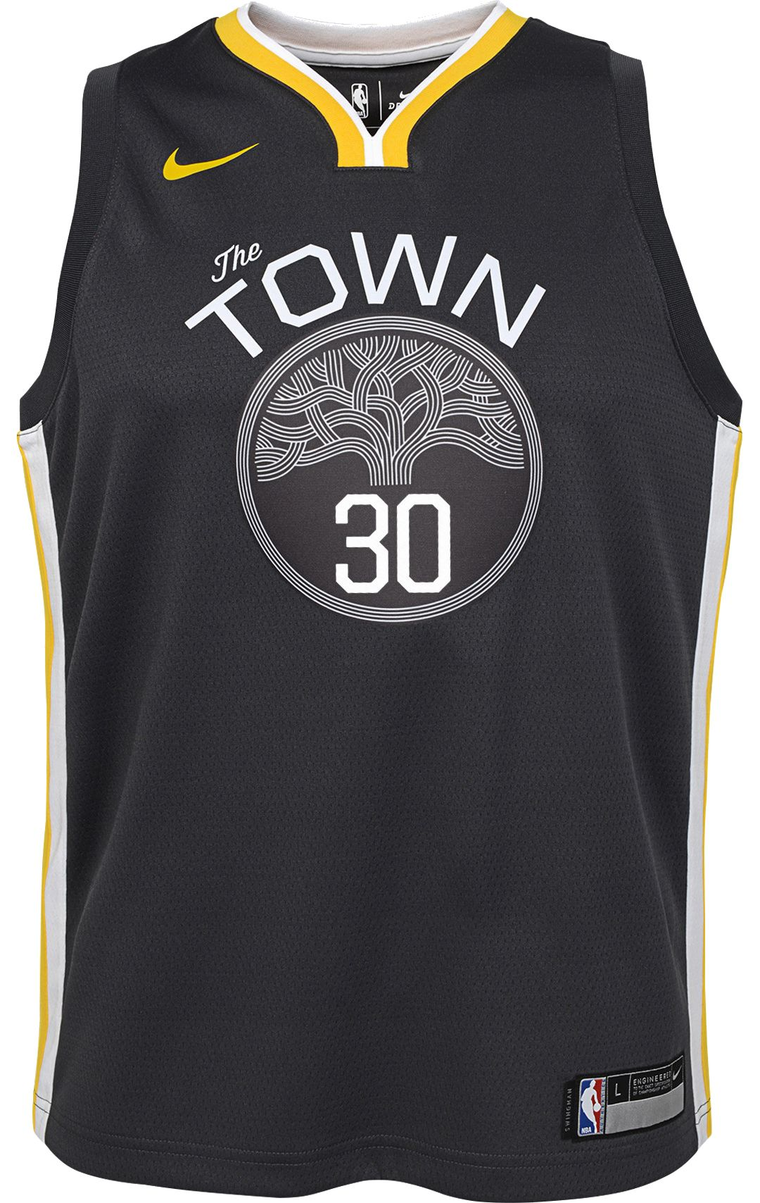 a0bb844390c Nike Youth Golden State Warriors Stephen Curry #30 Grey Dri-FIT Swingman  Jersey 2