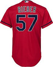 Nike Youth Replica Cleveland Indians Shane Bieber #57 Cool Base Red Jersey product image