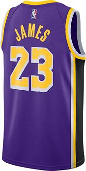 Nike Men's Los Angeles Lakers LeBron James #23 Purple Dri-FIT Statement Swingman Jersey product image