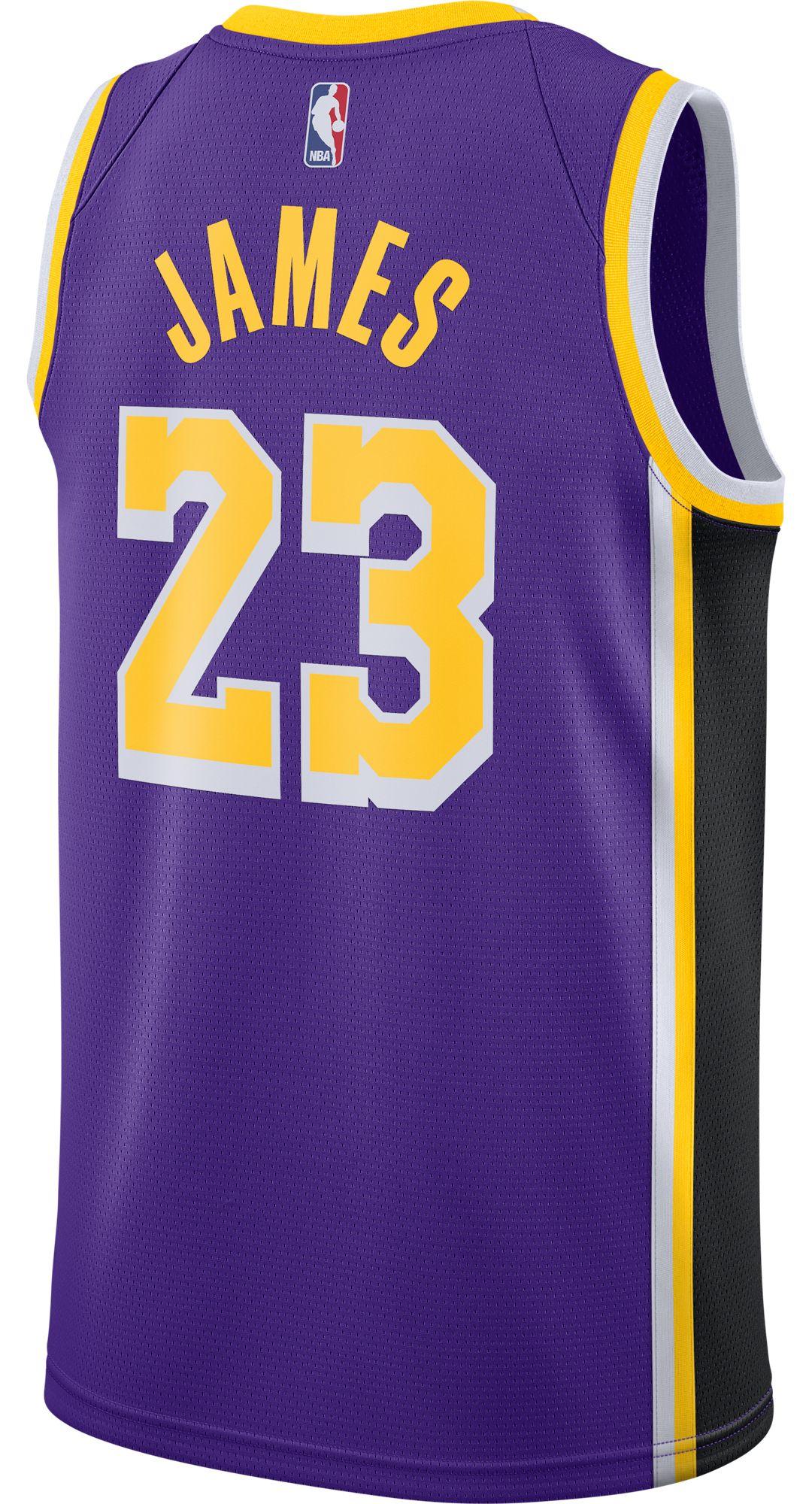 reputable site 1dbeb b11b3 Nike Men's Los Angeles Lakers LeBron James #23 Purple Dri-FIT Swingman  Jersey