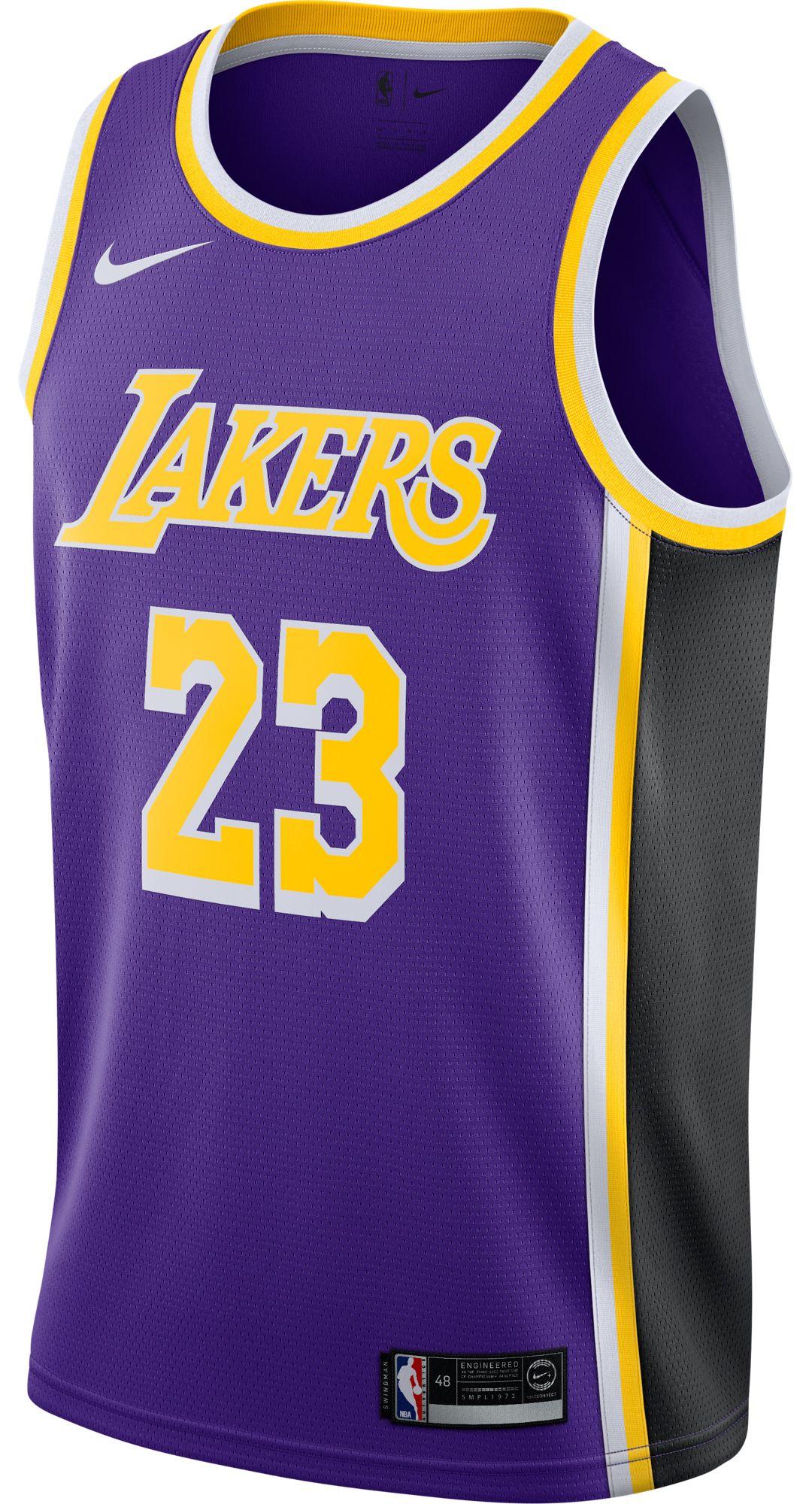 reputable site 1b43d c4972 Nike Men's Los Angeles Lakers LeBron James #23 Purple Dri-FIT Swingman  Jersey