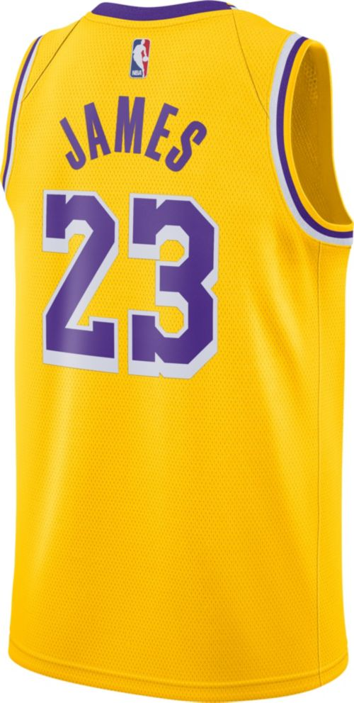 e33498950b2 Nike Men s Los Angeles Lakers LeBron James  23 Dri-FIT Gold Swingman ...