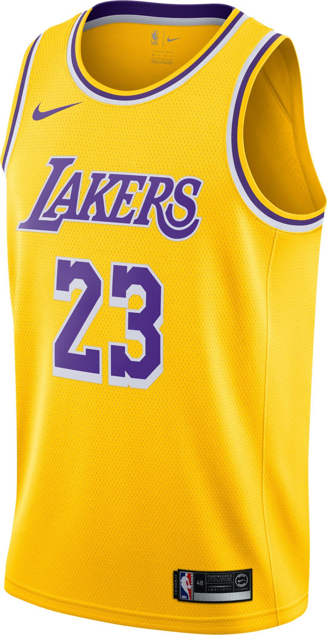 hot sale online ac3eb be705 Nike Men's Los Angeles Lakers LeBron James #23 Dri-FIT Gold Swingman Jersey
