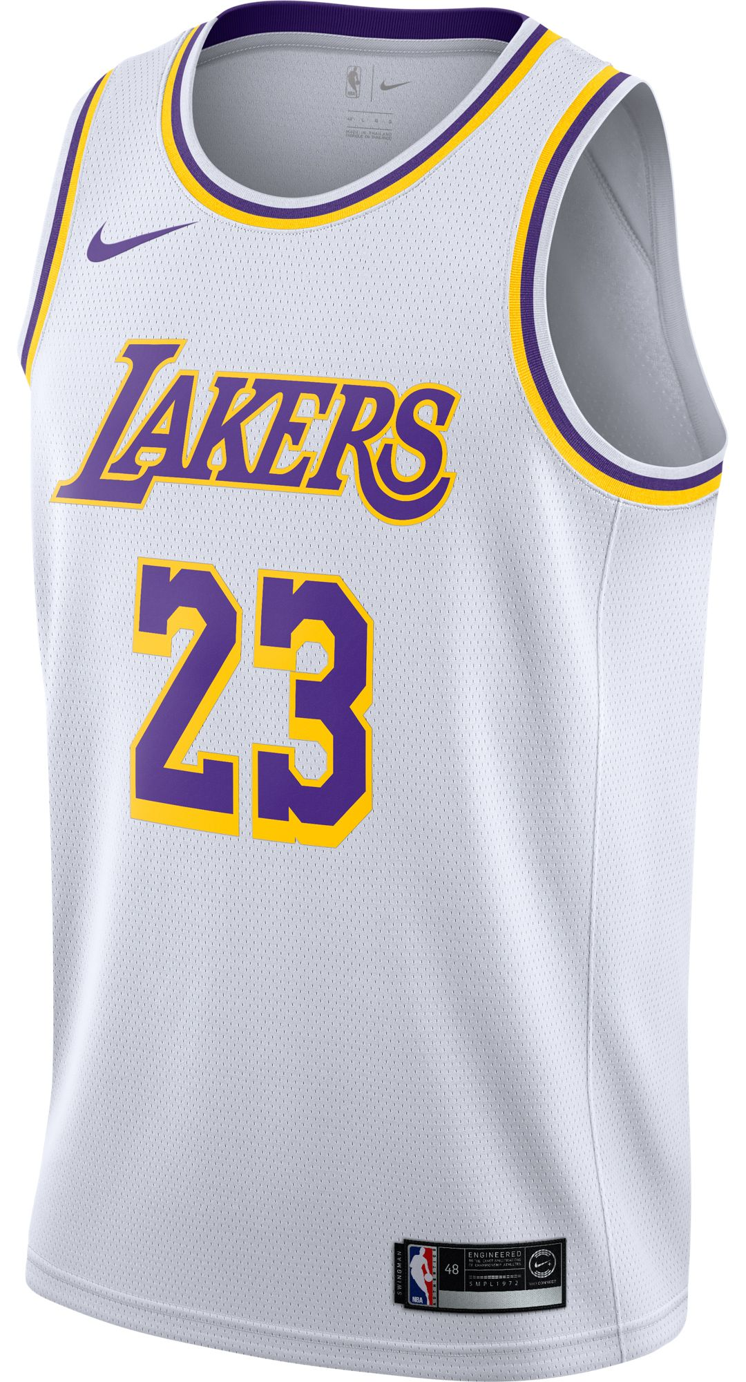 65ef14efbd4d6 Nike Men's Los Angeles Lakers LeBron James #23 White Dri-FIT Swingman Jersey