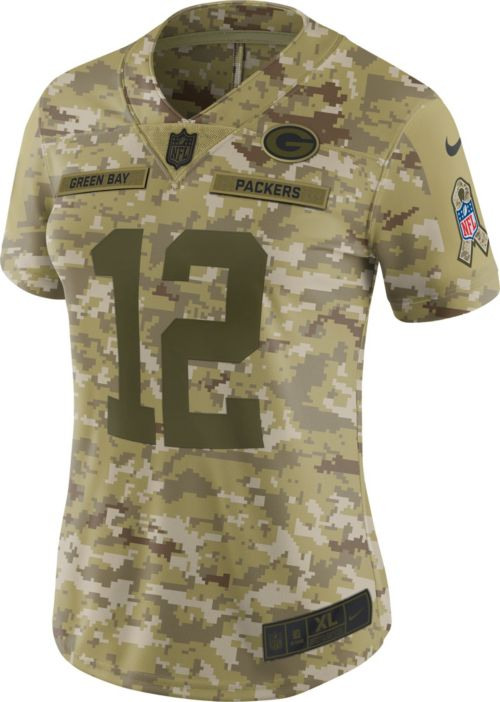5ddbed9de Nike Women's Salute to Service Green Bay Packers Aaron Rodgers #12  Camouflage Limited Jersey