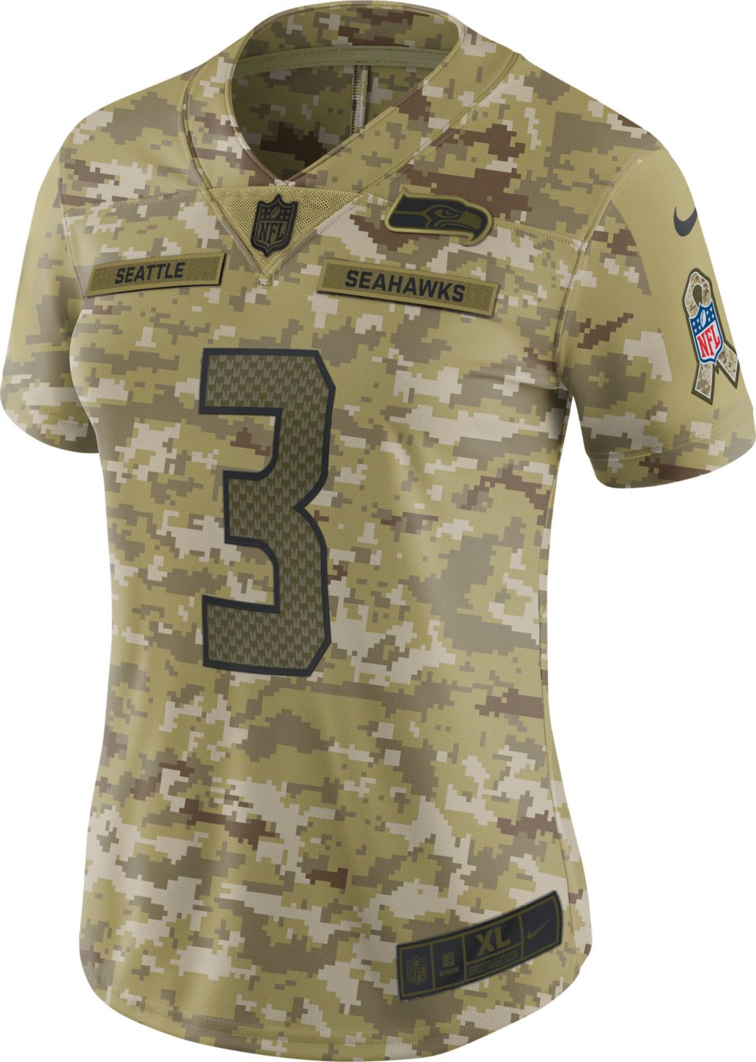 31129d89 Nike Women's Salute to Service Seattle Seahawks Russell Wilson #3 Limited  Camouflage Jersey 2
