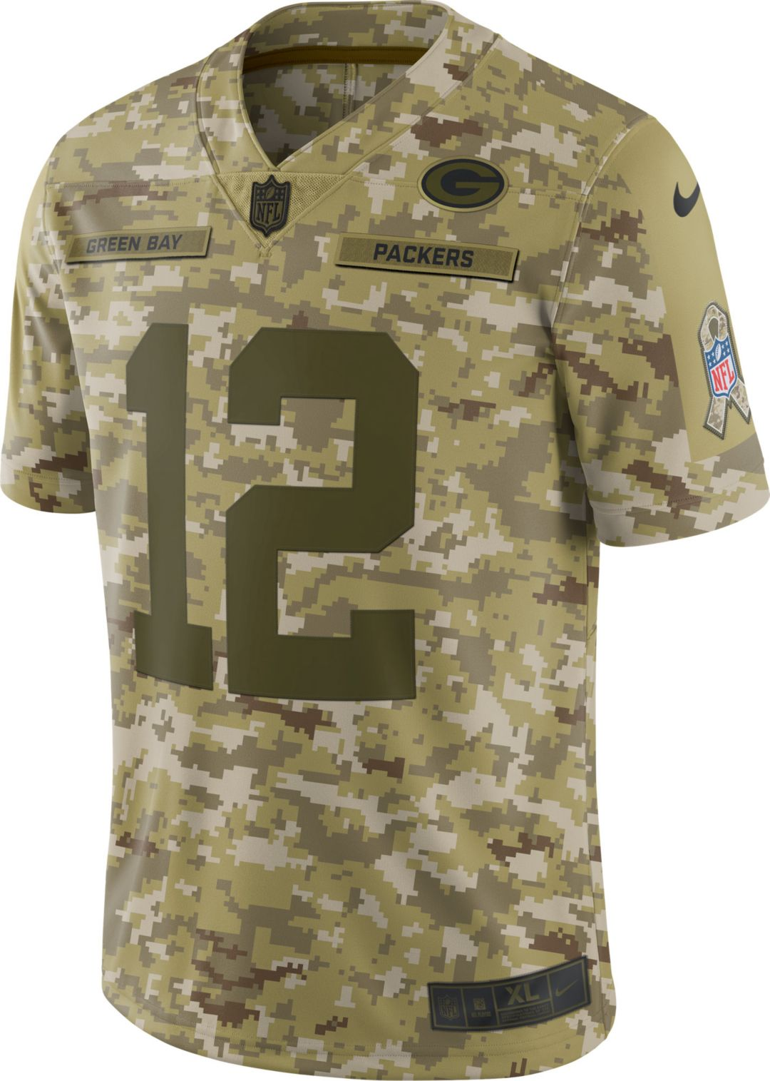 cd2b86e8c Nike Men's Salute to Service Green Bay Packers Aaron Rodgers #12 Limited  Camouflage Jersey 2
