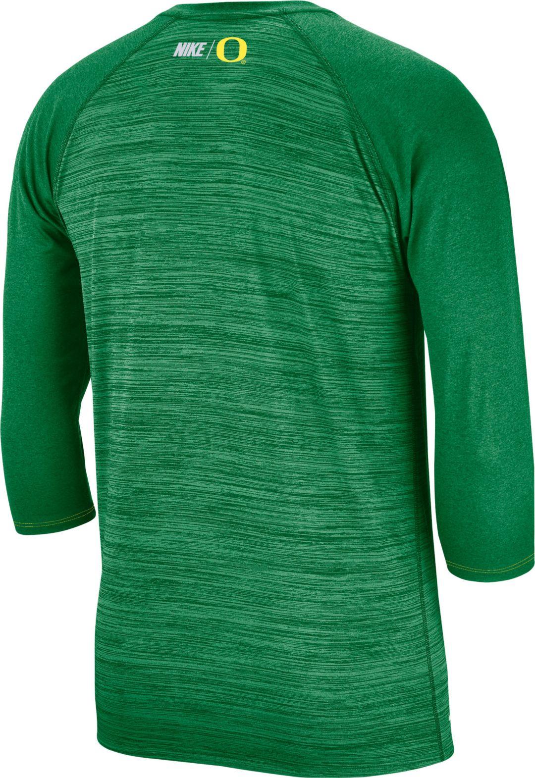 44a92258 Nike Men's Oregon Ducks Green Dry Legend 3/4 Sleeve T-Shirt