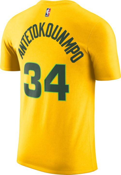 f2690b0b Nike Men's Milwaukee Bucks Giannis Antetokounmpo Dri-FIT City Edition T- Shirt. noImageFound. Previous. 1. 2. 3