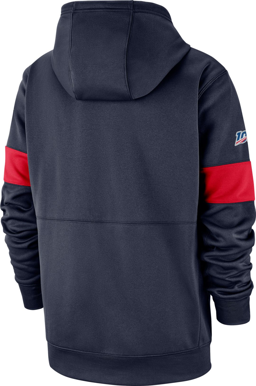 best loved 43aaa 8e0ce Nike Men's New England Patriots 100th Sideline Therma-FIT Navy Pullover  Hoodie
