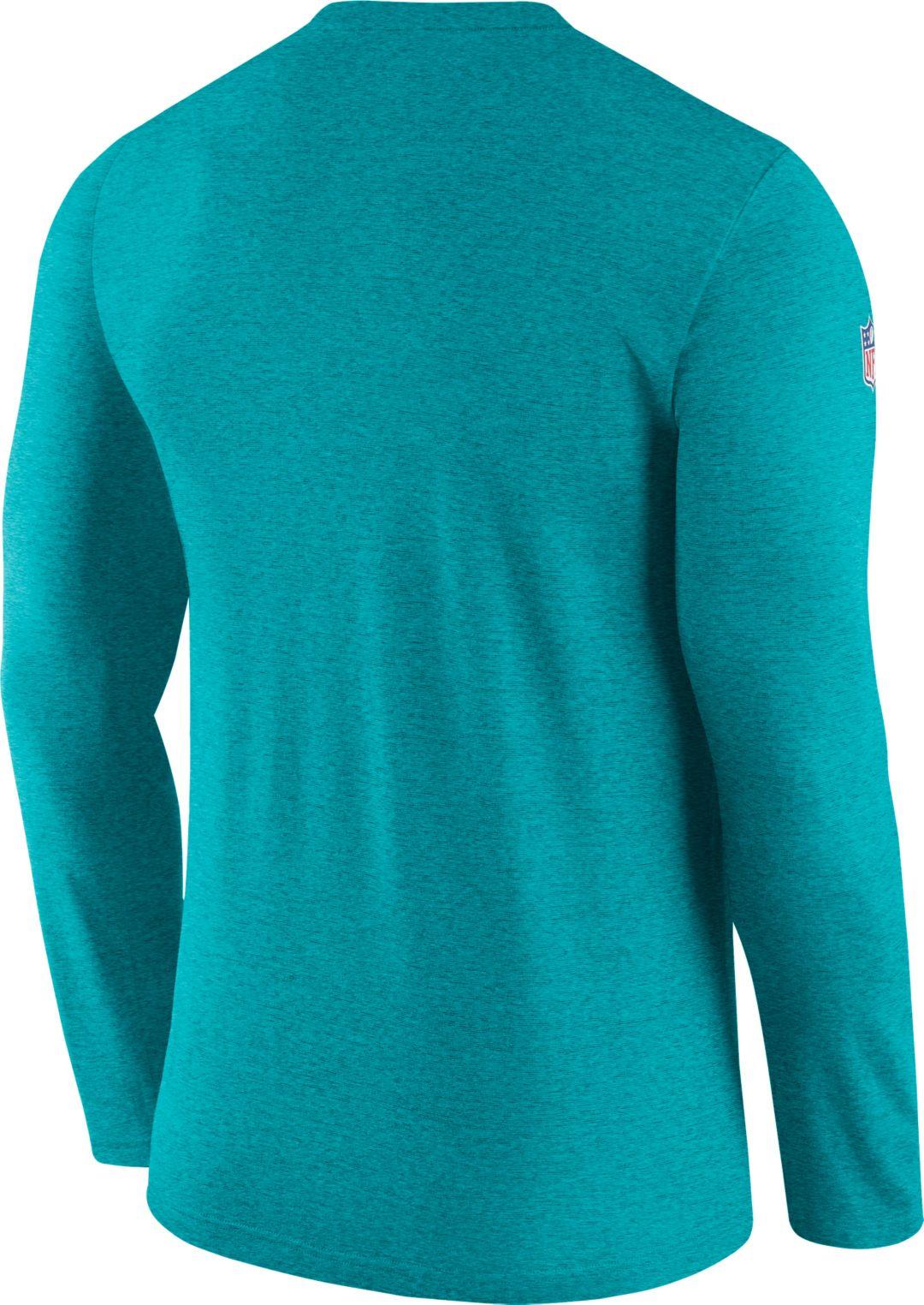 90744e86 Nike Men's Miami Dolphins Sideline Coach Performance Aqua Long Sleeve Shirt