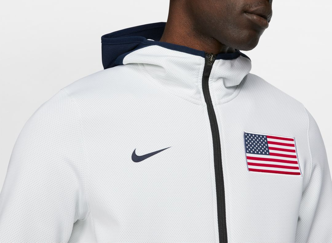 outlet for sale online for sale classic styles Nike Men's USA Basketball White Therma Flex Showtime Full-Zip Hoodie
