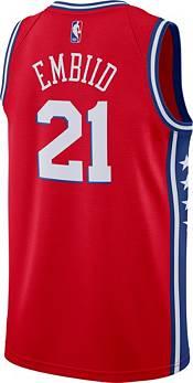 Nike Men's Philadelphia 76ers Joel Embiid #21 Red Dri-FIT Statement Swingman Jersey product image