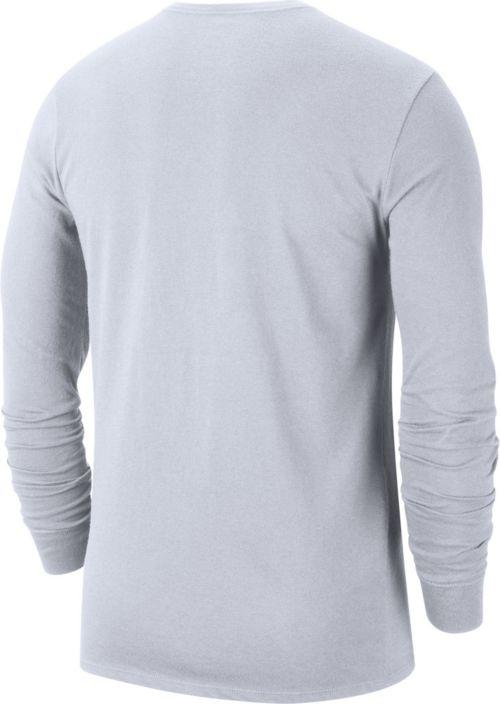 ad8f1ada879410 Jordan Men s Michigan Wolverines Dri-FIT Retro Long Sleeve Basketball White  T-Shirt