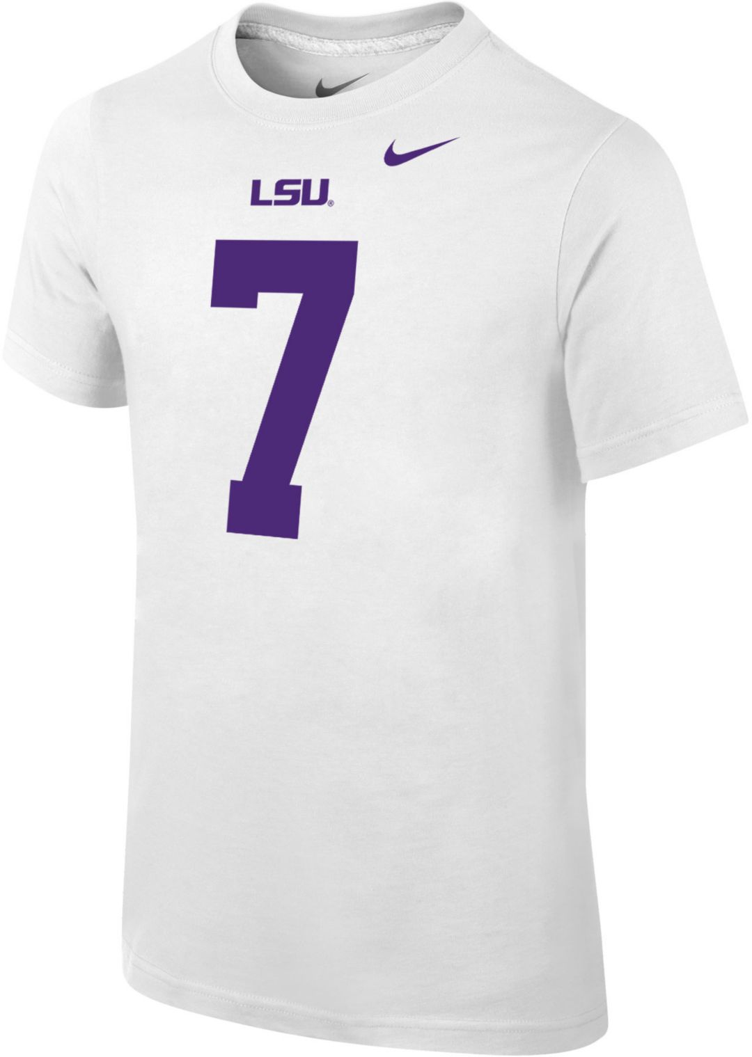 buy online 181db 72acf Nike Youth Leonard Fournette LSU Tigers #7 Cotton Football Jersey White  T-Shirt