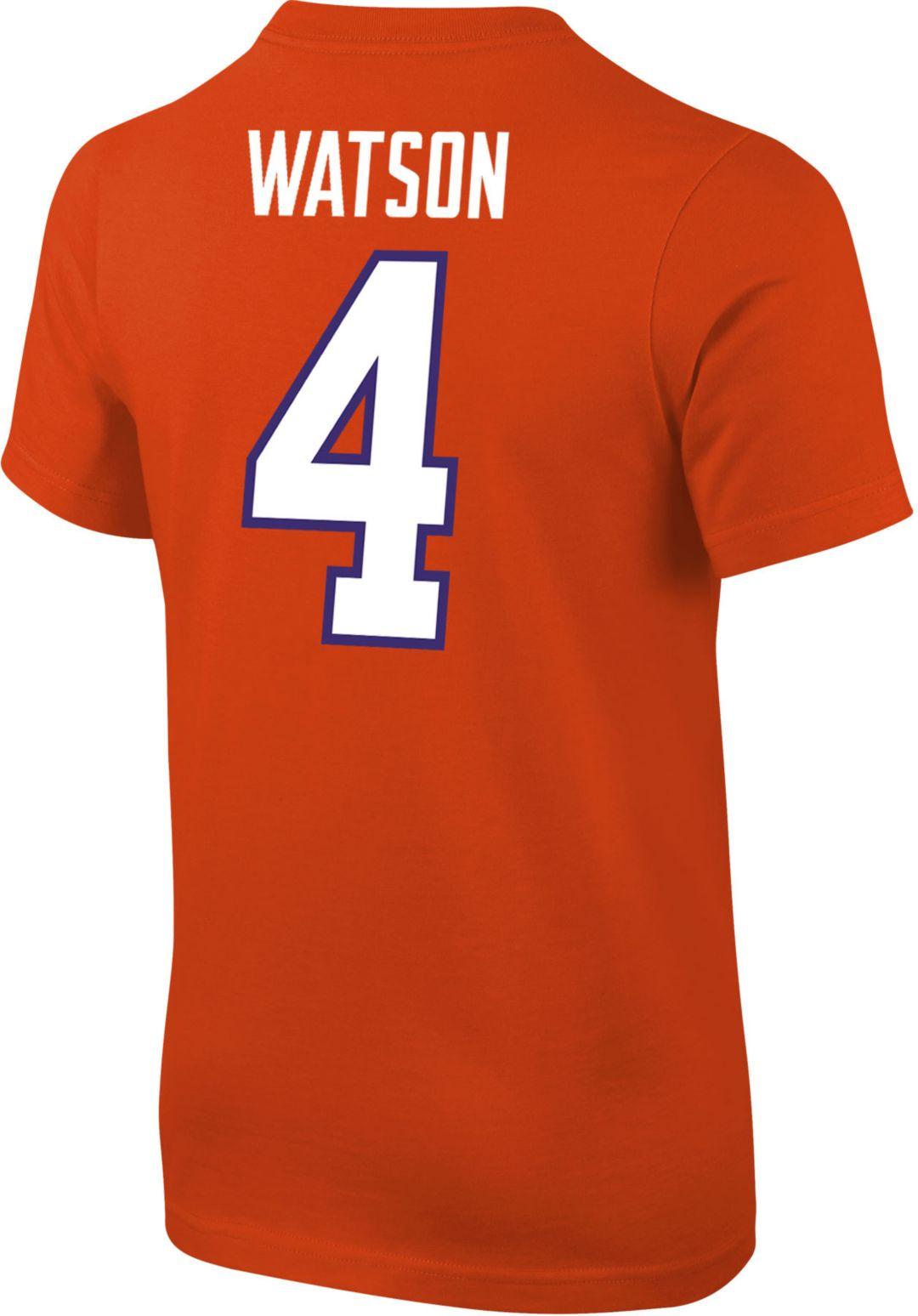 premium selection 156c5 dbd6f Nike Youth Deshaun Watson Clemson Tigers #4 Orange Cotton Football Jersey  T-Shirt