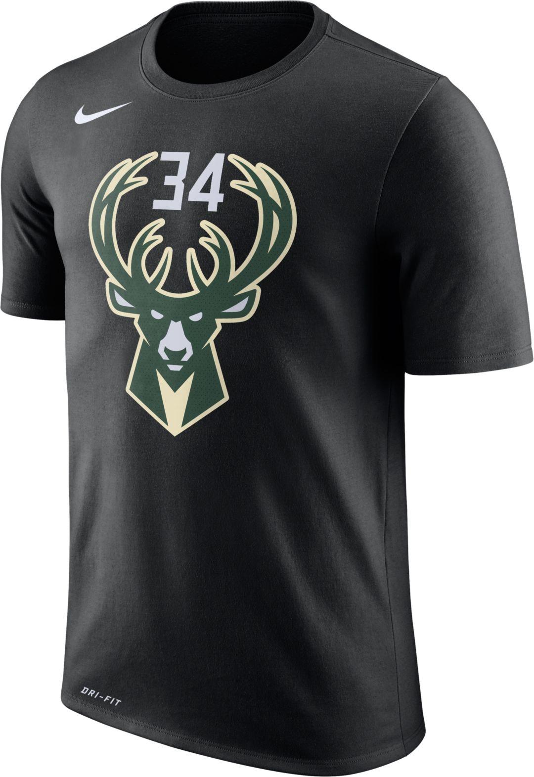 pretty nice 44acd 5fe5e Nike Youth Milwaukee Bucks Giannis Antetokounmpo #34 Dri-FIT Black T-Shirt