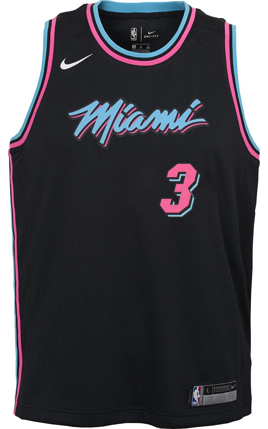 free shipping 35b83 769ec Nike Youth Miami Heat Dwyane Wade Dri-FIT City Edition Swingman Jersey