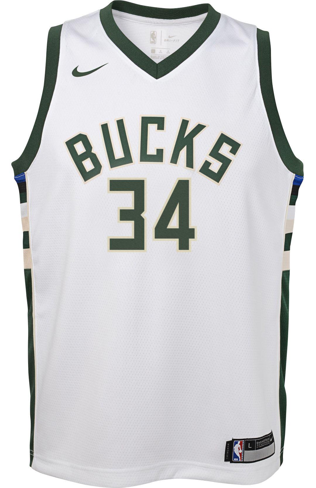 62d64bd04bc Nike Youth Milwaukee Bucks Giannis Antetokounmpo #34 White Dri-FIT Swingman  Jersey 2