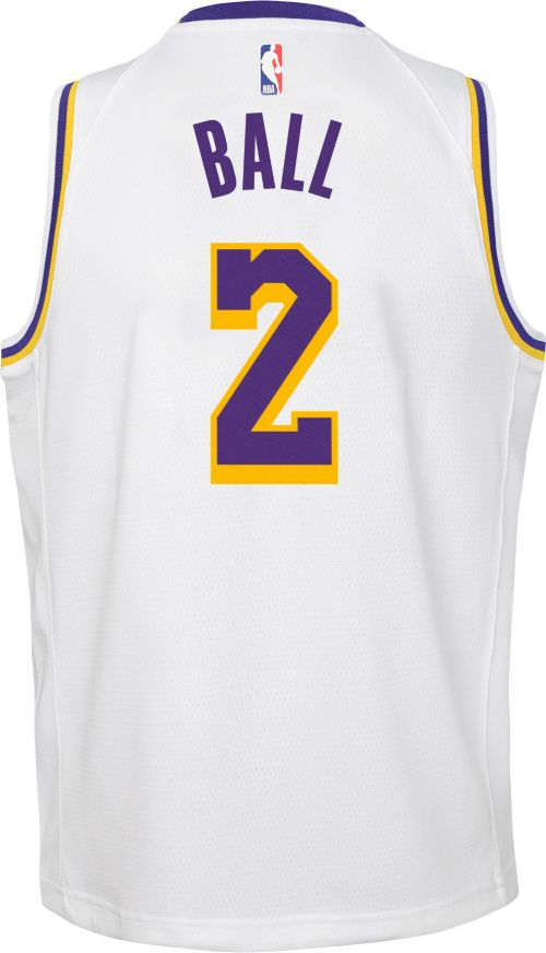 9d6d4e8eda1 Nike Youth Los Angeles Lakers Lonzo Ball  2 White Dri-FIT Swingman ...