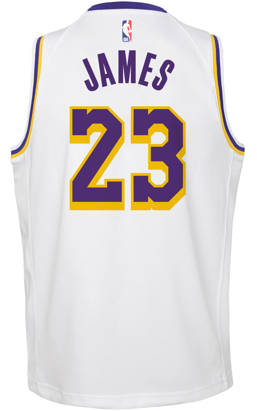 a0a71d20168 Nike Youth Los Angeles Lakers LeBron James Dri-FIT White Swingman Jersey 3