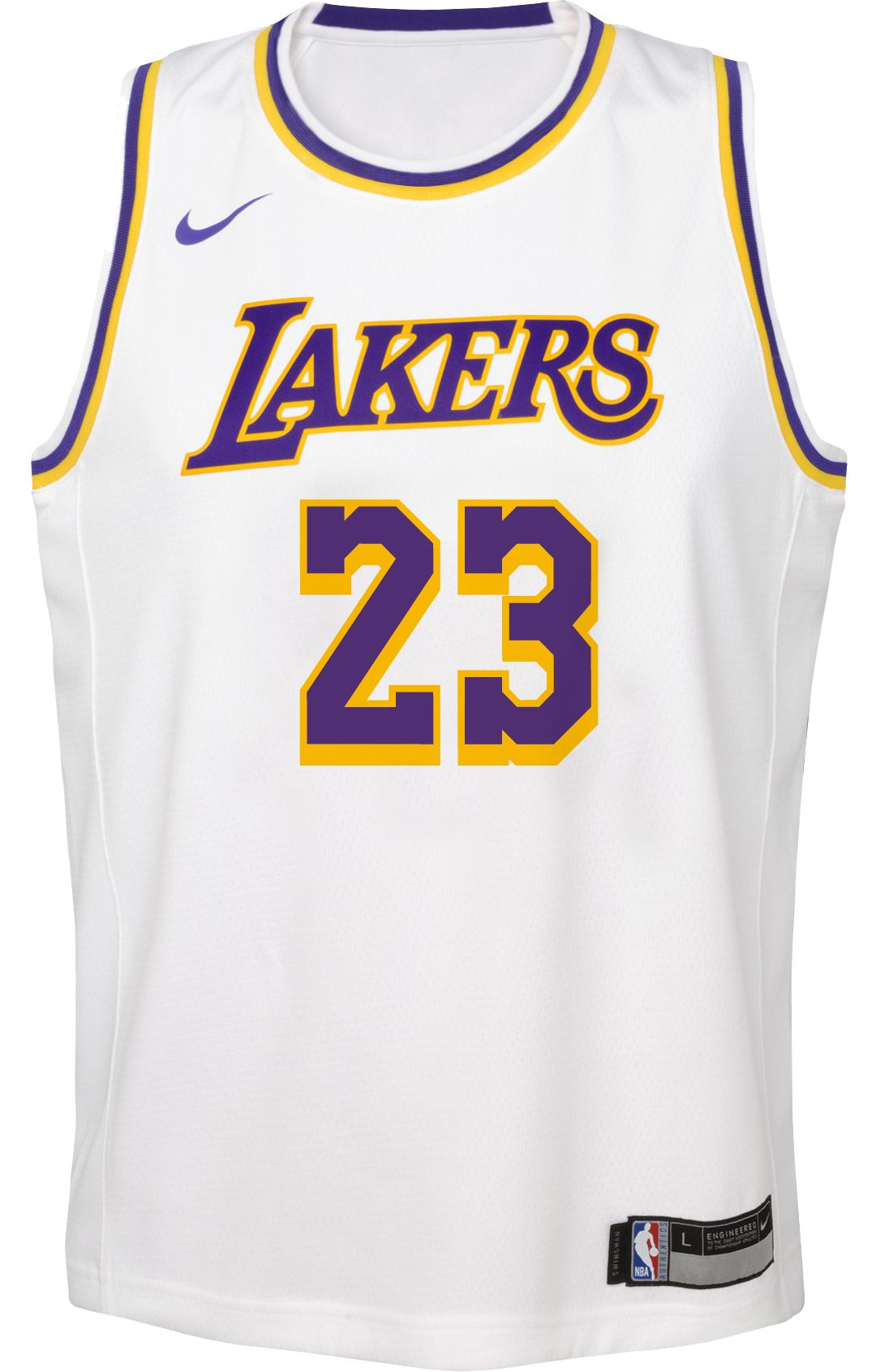 best loved f2b47 4e3be Nike Youth Los Angeles Lakers LeBron James Dri-FIT White Swingman Jersey