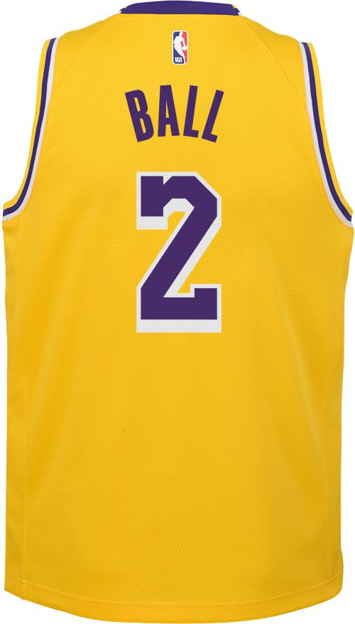 7388a927328 Nike Youth Los Angeles Lakers Lonzo Ball  2 Gold Dri-FIT Swingman Jersey.  noImageFound. Previous. 1. 2. 3
