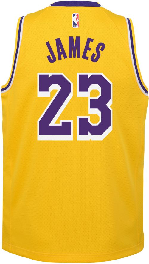 110c8f05bec Nike Youth Los Angeles Lakers LeBron James Dri-FIT Gold Swingman Jersey.  noImageFound. Previous. 1. 2. 3