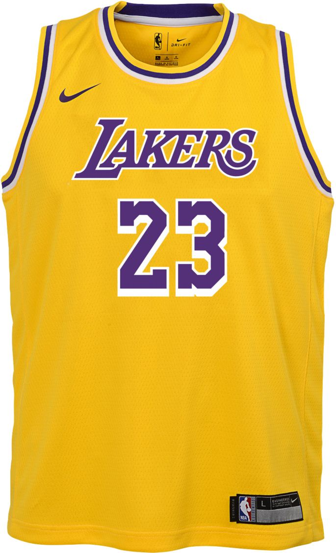 Nike Youth Los Angeles Lakers LeBron James Dri FIT Gold Swingman Jersey