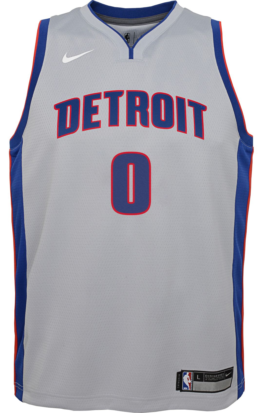 new product d338c 100a6 Nike Youth Detroit Pistons Andre Drummond #0 Grey Dri-FIT Swingman Jersey