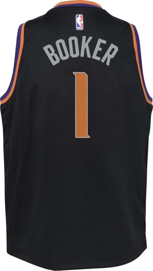 ac5e53bfb Nike Youth Phoenix Suns Devin Booker  1 Black Dri-FIT Swingman Jersey.  noImageFound. Previous. 1. 2. 3