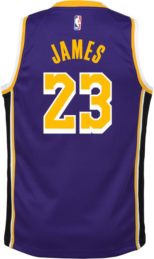 34a029e54e34 Nike Youth Los Angeles Lakers LeBron James Dri-FIT Purple Swingman Jersey.  noImageFound. Previous. 1. 2. 3
