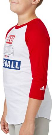 adidas Boys' Red White & Baseball ¾ Sleeve Baseball Shirt product image