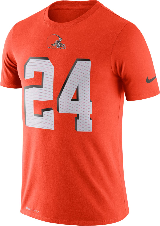 premium selection 2be7c d9c1f Nike Men's Cleveland Browns Nick Chubb #24 Logo Orange T-Shirt