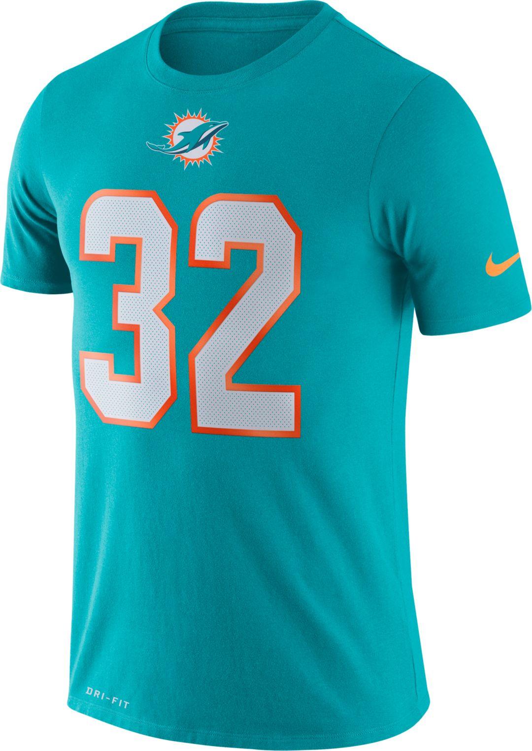 finest selection 656af 2d2dc Nike Men's Miami Dolphins Kenyan Drake #32 Logo Aqua T-Shirt