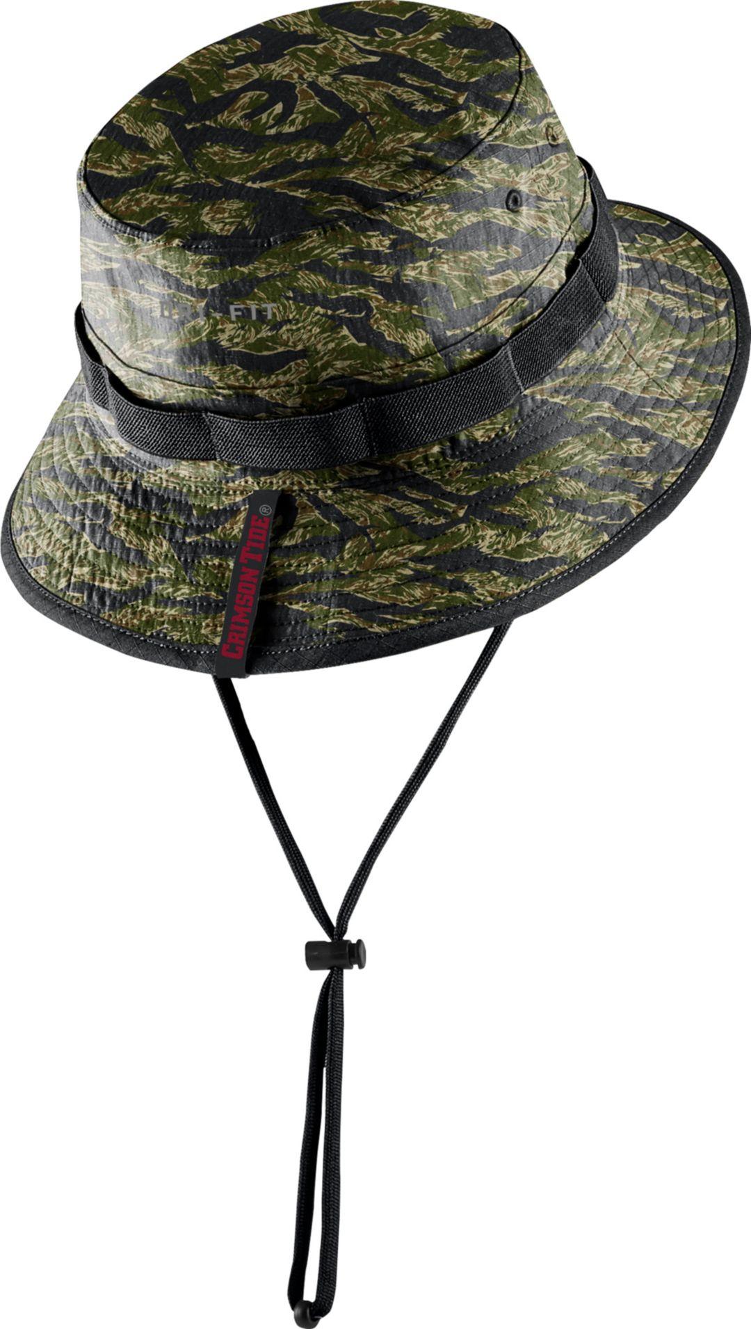 f9d7d8d25 Nike Men's Alabama Crimson Tide Tiger Camo Dri-FIT Sideline Bucket Black Hat