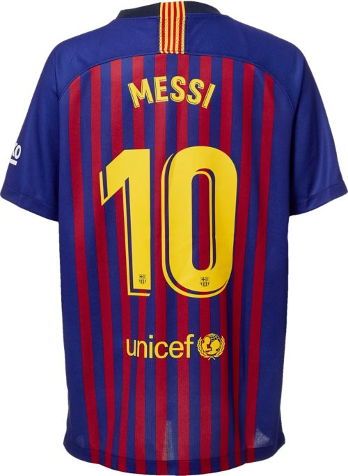 36bb57809bd Nike Men s FC Barcelona Lionel Messi  10 2018 Breathe Stadium Home ...