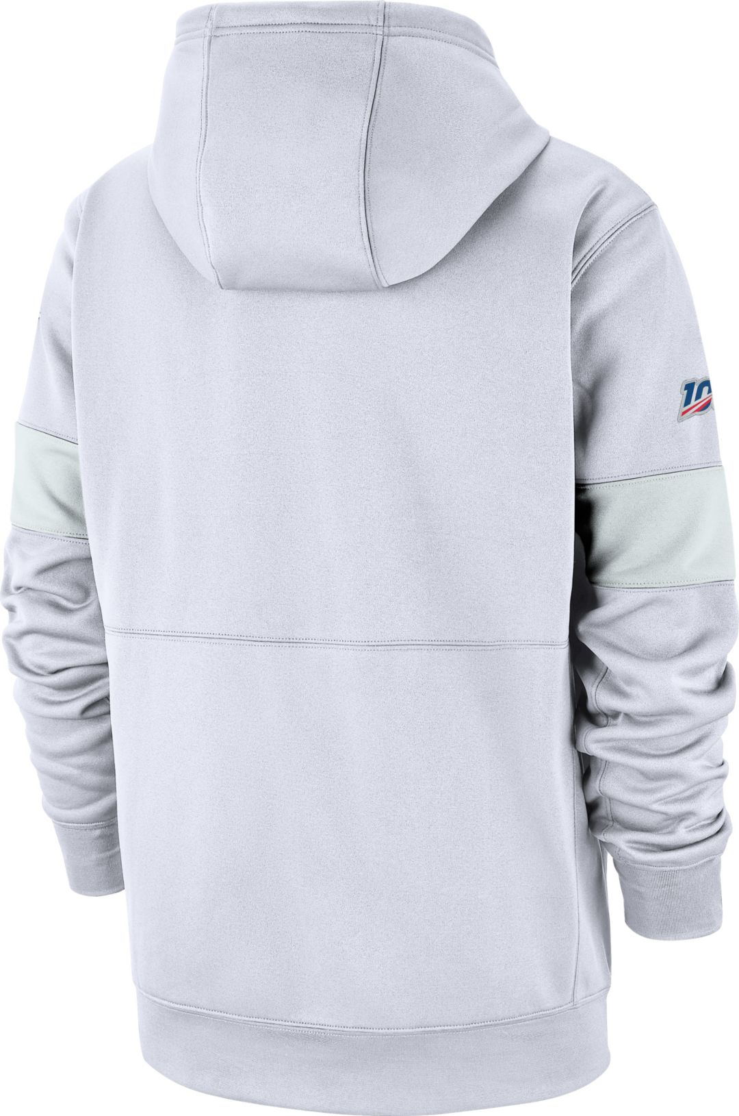 online retailer 5924b 27e92 Nike Men's New England Patriots 100th Sideline Therma-FIT Pullover White  Hoodie