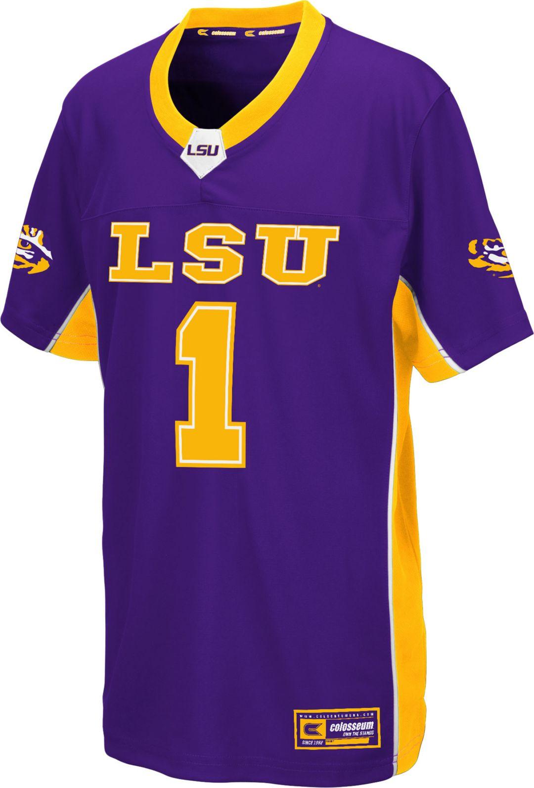 on sale 16b10 fdd33 Colosseum Youth LSU Tigers Purple Max Power Football Jersey