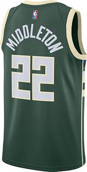 Nike Men's Milwaukee Bucks Khris Middleton #22 Green Dri-FIT Icon Edition Jersey product image