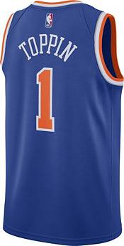 Nike Men's New York Knicks Obi Toppin #1 Blue Dri-FIT Swingman Jersey product image