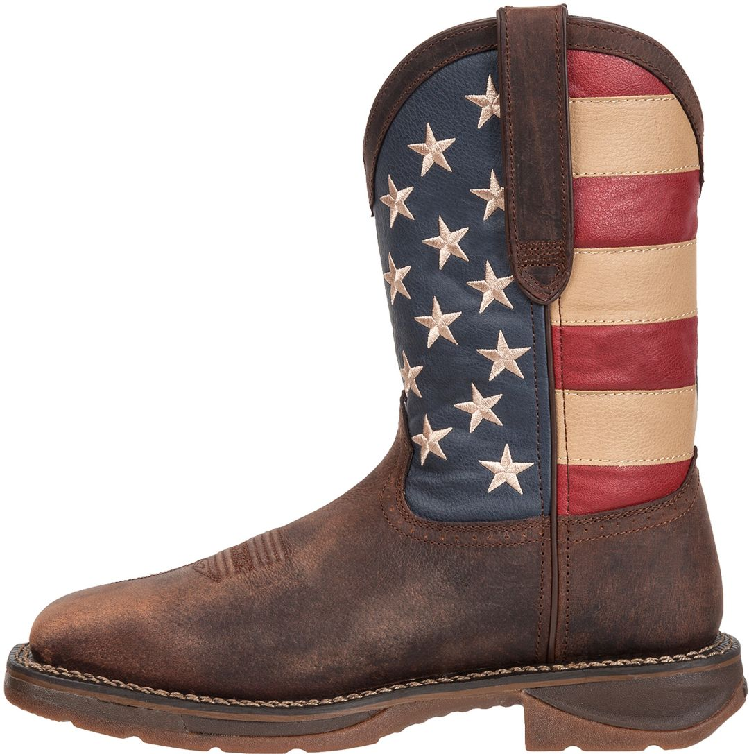"Durango Men's Rebel American Flag 11"" Waterproof Steel Toe Western Work  Boots"