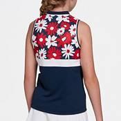 DSG Girls' Floral Mock Neck Sleeveless Polo Shirt product image