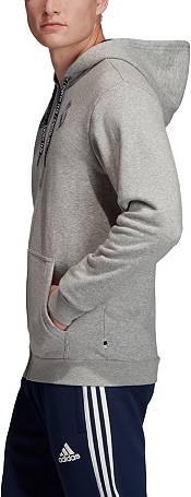 adidas Men's Real Madrid Crest Heather Grey Full-Zip Hoodie product image