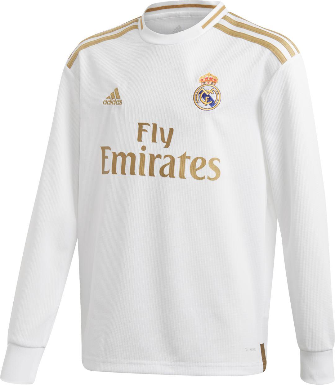 sale retailer 3cd6e 80897 adidas Youth Real Madrid '19 Stadium Home Replica Long Sleeve Jersey